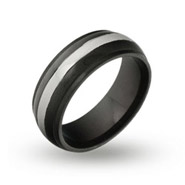 Mens Jet Black and Steel Engravable Band