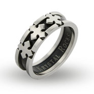 Black Plate Triple Cross Engravable Band