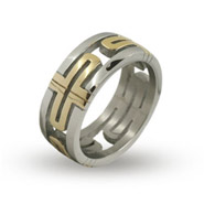 Mens Designer Inspired Greek Style Gold Cross Ring