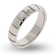 Womens Engravable Ribbed Message Band
