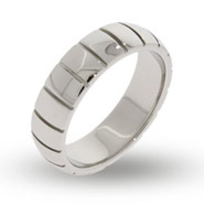 Mens Engravable Ribbed Promise Band