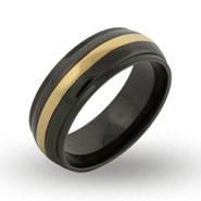 Mens Gold Stripe Black Plate Engravable Message Band