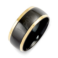Mens Black Plate Gold Lined Steel Engravable Band