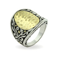 Designer Inspired Gold Oval Ring with Floral Design