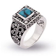 South Western Style Square Cut Sterling Silver Turquoise Ring