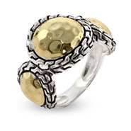 Designer Inspired Hammered Gold Sterling Silver Bali Style Ring