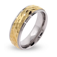 Men's Golden Engravable Hammered Stainless Steel Band