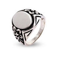 Engravable Pretty Sterling Silver Signet Ring With Flower Design
