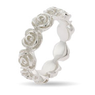 Band of Roses Sterling Silver Eternity Ring