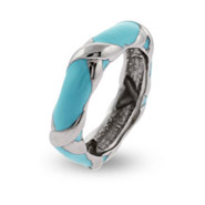 Tiffany Inspired Turquoise Enamel Sterling Silver Ring