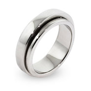Engravable Sterling Silver Plain Band Spinner Ring