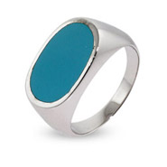 Contemporary Style Oval Turquoise Blue Sterling Silver Ring