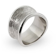Sterling Silver Engravable Wide Band with Wood Grain Design