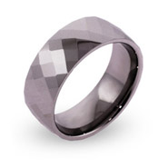 Men's Diamond Cut Gunmetal Engravable Tungsten Ring