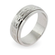 Engravable Double Row Design Sterling Silver Spinner Ring