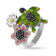 Designer Inspired Enamel Nature Turtle Ring