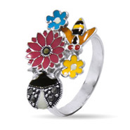Designer Inspired Enamel Nature Ring