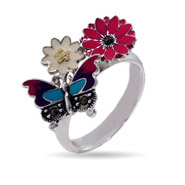 Designer Inspired Enamel Nature Butterfly Ring