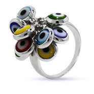 Multi Color Glass Evil Eye Charm Ring