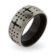 Steel and Black Lined Dotted Cross Engravable Message Band