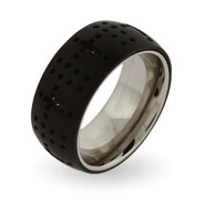 Black Plate Dotted Cross Engravable Message Ring