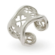 Lucky Four Leaf Clover Adjustable Sterling Silver Ring
