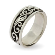Engravable Sterling Silver Spinner Ring with Scroll Design