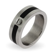 Men's Engravable Band with Black Accent