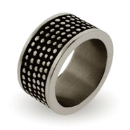Men's Engravable Stainless Steel Oxidized Dot Band