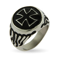 Men's Iron Cross and Flames Engravable Stainless Steel Ring