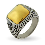 Men's Engravable Designer Inspired Gold Cushion Bali Ring