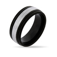 Men's Metro Style Black Plate Band With Silver Trim