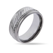 Men's Classy Stainless Steel Engravable Band with Milgrain Design