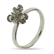 Stackable Reflections Triple Flower Silver Stackable Ring