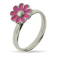 Stackable Reflections Pink Daisy Enamel Stackable Ring
