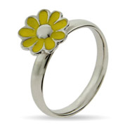 Stackable Reflections Yellow Daisy Enamel Stackable Ring