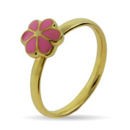 Gold Vermeil Pink Magnolia Stackable Ring