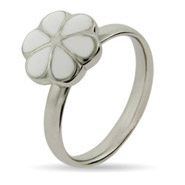 Stackable Reflections White Magnolia Enamel Stackable Ring