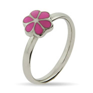 Stackable Reflections Petite Pink Magnolia Enamel Stackable Ring