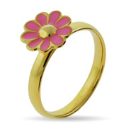 Stackable Reflections Gold Vermeil Pink Daisy Stackable Ring