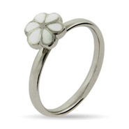 Stackable Reflections Petite White Magnolia Enamel Stackable Ring