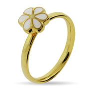 Stackable Reflections Petite White Magnolia Gold Vermeil Stackable Ring
