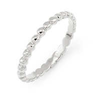 Stackable Reflections Silver Beaded Stackable Ring