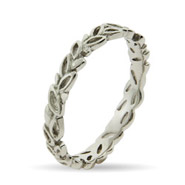 Stackable Reflections Silver Leaves Thin Stackable Band