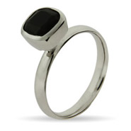 Stackable Reflections Cushion Cut Onyx Stackable Ring