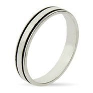 Stackable Reflections Sterling Silver Black Lined Stackable Ring