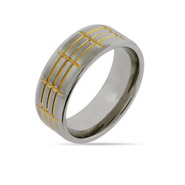 Mens Engravable Two Tone Gold Lined Stainless Steel Ring
