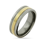 Men's Engravable Tungsten Ring with Golden Center Band