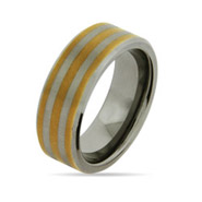 Gold Stripe Engravable Tungsten Band