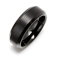 8 mm Black Tungsten Carbide Ring with Beveled Edges